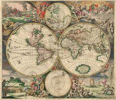 World Map 1689. Древние карты мира в высоком разрешении - Старинные карты