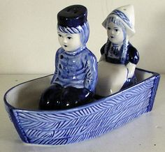 VINTAGE Blue Delft Dutch boy girl boat SALT PEPPER SET Holland ceramic | eBay