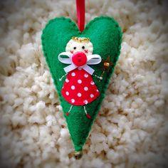 Hand stitched Christmas Fairy Felt Heart