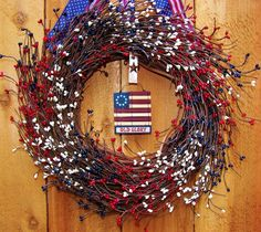 Hey, I found this really awesome Etsy listing at https://www.etsy.com/listing/99340107/americana-wooden-flag-berry-door-wreath