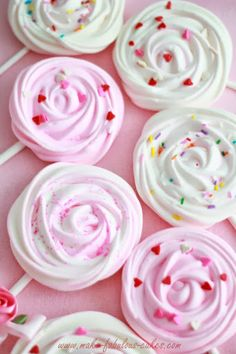 Meringue pops - these look just like roses, perfect for a tea party or an Alice In Wonderland party