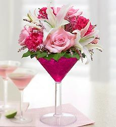 martini floral arrangement - cute bridal shower idea