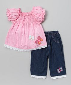 Look what I found on #zulily! Pink Butterfly Shirred Top & Denim Pants - Infant & Toddler #zulilyfinds