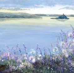 Sunrise Over The Island - by Judi Trevorrow. A stunning painting of a floral coastal view overlooking St Michaels Mount. Available to buy as a canvas or framed print from Cornwall Art Galleries with prices from St Michael's Mount, Framed Artwork, Framed Prints, Art For Art Sake, Beautiful Paintings, Cornwall, Sunrise, Art Gallery, Island