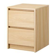 IKEA - SKREIA, Komoda, 2 szuflady, Płynnie wysuwane szuflady z blokadą