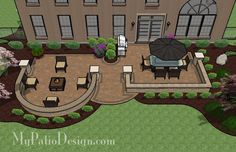 Beautiful Backyard Patio Design with Seat Wall | 705 sq ft | Download Installation Plan, How-to's and Material List @Mypatiodesign.com