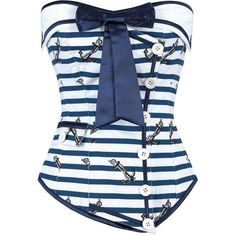 Naughty Nautical Blue Overbust Corset The Violet Vixen ❤ liked on Polyvore featuring intimates, steampunk lingerie, steampunk corset, sexy lingerie, blue corset and steam punk corset