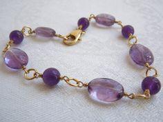 Purple Amethyst Bracelet: Lilac Gemstones- Gold Filled Wire. $75.00, via Etsy.