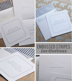 white and silver embossed invitations