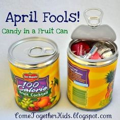 20 Silly April Fool's Pranks for Kids- Candy in a fruit can