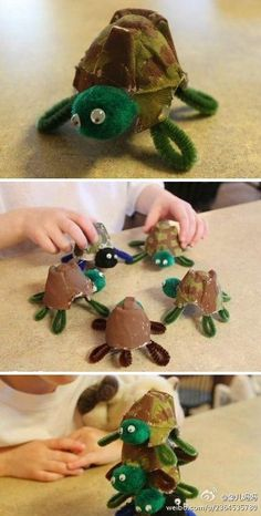 T is for turtle (Egg Carton Craft)