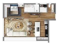 Smart — Lageado 167 Apartment Layout, Apartment Plans, Floor Plan Layout, Tiny Apartments, Architecture Plan, House Floor Plans, Planer, New Homes, House Design