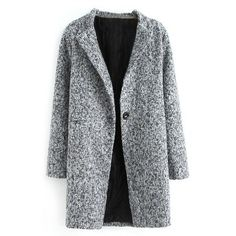 ROMWE Pocketed Buttoned Grey Coat (57 AUD) ❤ liked on Polyvore featuring outerwear, coats, jackets, coats & jackets, grey coat, gray coat and button coat