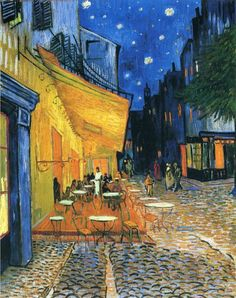 """Cafe At Night, 1888 by Vincent Van Gogh. This painting of colorful outdoor view is a picturesque work, the vision of a relaxed spectator who enjoys the charm of his surrounding without any moral concern. It recalls Van Gogh's mood when he wrote that """"the night is more alive and more richly colored than the day."""""""
