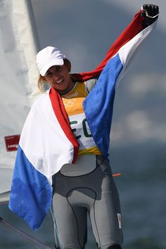 Netherlands' Marit Bouwmeester celebrates after winning the Laser Radial Women…
