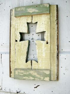 Butter Yellow Wall Cross Recycled Wood Art Celtic Cross