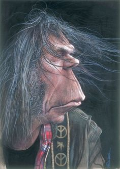 The Exhibition of Caricature by Sebastian Kruger/Germany :: Neil_Young Neil Young, Caricature Artist, Caricature Drawing, Drawing Art, Funny Caricatures, Celebrity Caricatures, Celebrity Drawings, Cartoon Faces, Funny Faces