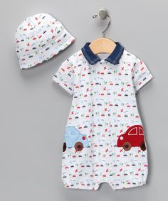 Look what I found on #zulily! White Transportation Romper & Beanie - Infant by Rumble Tumble #zulilyfinds