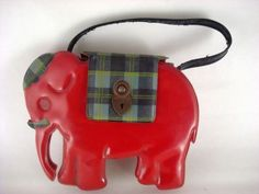 Vintage Red Elephant Child's Purse