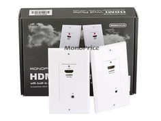Monoprice Hdmi Over / Extender Wall Plate (Pair) with Built-In Backward IR Channel, Single Port White Electrical Wiring, Electrical Equipment, Cable Box, Outlet Covers, Mounting Brackets, Other Rooms, Looks Cool, Plates On Wall, Locker Storage
