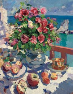 'Roses and Apples' (1917) by Konstantin Korovin