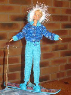 Bonjour à tous et à toutes, Voilà une autre tenue de ski pour notre poupée, il s'agit d'un pantalon et d'un anorak. Je me suis souvenue que ma fille avait dans ses barbies un monoski, je me suis dis que ce serait mieux pour présenter la tenue, le problème...