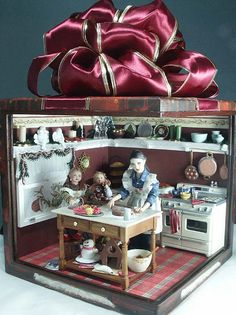 Christmas present with dollhouse miniature roombox inside it. CBSBoxoverall by mywikipics, via Flickr