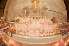 Sweet Simplicity Bakery: Wedding Dessert & Candy Display Buffet Table in Pink, Ivory & Gold; Cake Pops with Ruffled Fondant Flowers, on paper straws with tulle bows