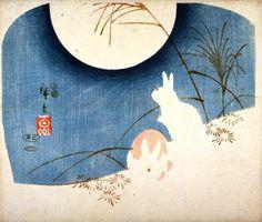 Utagawa Hiroshige 安藤徳太郎 (Japan 1797-1858) Untitled -Two Rabbits, Pampas Grass, and Full Moon (1849-1851) Ukiyo-e woodcut 20 x 24.8 cm Fine Arts Museums of San Francisco, USA