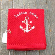 Embroidered Indian Lake Boat Anchor Dish Towel Nautical Dish Cloth