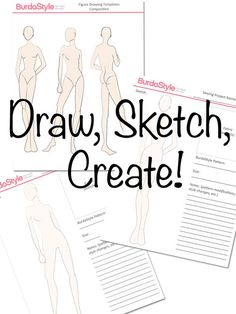 Figure Drawing Templates: This printable PDF consists of four pages, the first page has a composition of three poses that are meant to have a piece of drawing paper placed overtop and then traced out for fast and easy sketching. The other pages are these three poses separated in pattern planning sheets! They are more faint so you can draw right on top of them, then along side work out the details to bring your sketch to life.#burdastyle #sketching #fashionsketch #sew #sewing