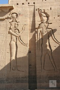 Isis and Horus, Temple of Philae Pylon, Egypt