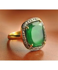 Micron Gold Plated, 925 Sterling Silver Ring Studded With Green Onyx