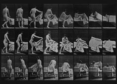 """Firts animated """"films"""": Woman Getting Into Bed, 1887. Eadward Muybridge practically invented animation when he took time lapse photos of animals and people against a gridded backdrop."""