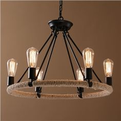 Ceiling Lights - Chandeliers - American Country Nordic Style Iron/Rope Paint Light Black Chandelier without Lamp Shade(edison bulb,adjustable) Edison Bulb Chandelier, Edison Lampe, Black Chandelier, Rustic Chandelier, Round Chandelier, Pendant Lamp, Shabby Chic Lamp Shades, Rustic Lamp Shades, Modern Lamp Shades