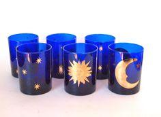 Vintage Culver Cobalt Blue Sun Moon Stars  Double Old Fashioned Rocks Glasses 12 oz. Circa 1980 Set of 6  by HouseofLucien, $42.00