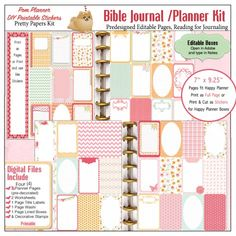 Pre-Decorated Quick Pages Printables, Fit Happy Planner, Christian Stickers. Printables for a Happy Planner pages or Bible Journal. Includes four mix and match Redecorated Pages with extra journal cards.