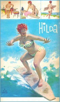 """Hilda on the water --- Surfin', """"Hang Ten"""" -- just like a Pro~! in Green Polka Dot bikini and a Sunshine Splash!"""