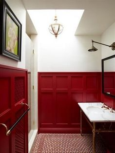 10 Proud Tips: Wainscoting Ideas Livingroom wainscoting design headboards.High Wainscoting Spaces waynes coating wainscoting board and batten.Wainscoting Ceiling Board And Batten. Painted Wainscoting, Wainscoting Bedroom, Black Wainscoting, Wainscoting Ideas, Wainscoting Height, Wainscoting Kitchen, Wainscoting Panels, Bathroom Paneling, Red Interior Design