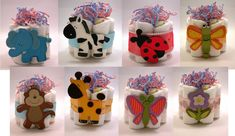 >These diaper cakes use only 7 diapers, a wooden embellishment and some ribbon and shred. They are small and cute. They would make perfect centerpieces at baby showers if there are more than one...