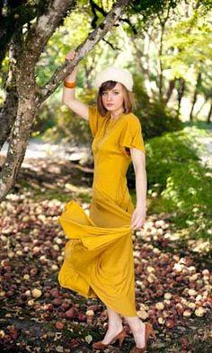 vintage mustard yellow dress