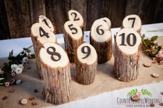 Rustic Wedding Table Numbers- Juniper Log Table Numbers ~ Country Wedding Table Numbers, Rustic Wedding Decor, Outdoor Wedding Decor by CountryChapel on Etsy https://www.etsy.com/listing/207618276/rustic-wedding-table-numbers-juniper-log