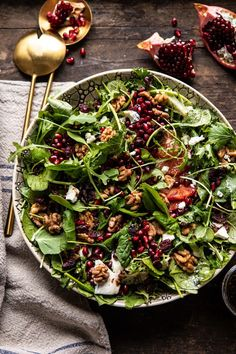Winter Pomegranate Salad with Maple Candied Walnuts | halfbakedharvest.com #wontersalad #healthy
