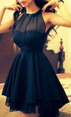 Stunning Black Beam Waist Irregular Hem Chiffon #Dress.
