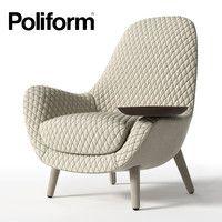 3d model poliform mad king Poliform Sofa, Sofa Chair, Armchair, Wood Table Design, Single Chair, 3d Studio, Home Theater Seating, 3d Models, Barrel Chair