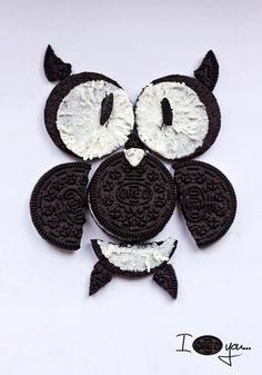 Hey!  I can make this for the top of the next birthday cake I make.  An owl, made out of a few Oreos.  So cute.