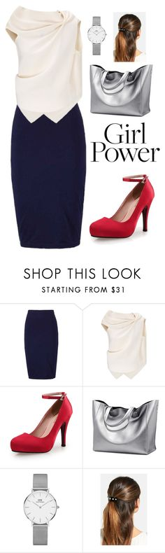 """Power Look"" by brightheart593 ❤ liked on Polyvore featuring Roland Mouret, Daniel Wellington, L. Erickson, chic, fancy, girlpower and incontrol"