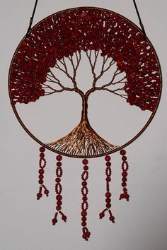 12 Tree Of Life Wall Decor Hanging The tree is made with copper wire and dark red coral gemstones chips and spheres  The ring size is 12 inch or 30 centimeters The tree is holded with a leather string    Airmail shipping priority  For more questions please contact.