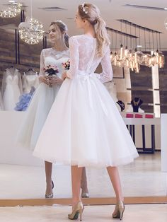 Tea-length Wedding Dresses New Sleeve White/Ivory Lace Bride Gown Custom Lace Tea Length Dress, Tea Length Wedding Dress, Tea Length Dresses, Elegant Wedding Dress, Bridal Wedding Dresses, White Wedding Dresses, Tulle Wedding, Reception Dresses, Wedding Veil