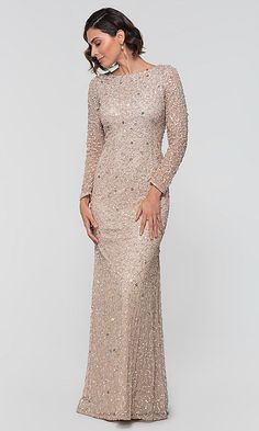 Shop long-sleeve Adrianna Papell sequin MOB dresses at Kleinfeld Bridal Party. Long black mother-of-the-bride/groom dresses and formal MOB dresses with illusion sleeves, surplice bodices, and slits. Mother Of Bride Outfits, Mother Of Groom Dresses, Bride Groom Dress, Mother Of The Bride Gowns, Long Mothers Dress, Mothers Dresses, Dress Long, Mob Dresses, Bridesmaid Dresses